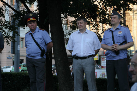 oppositional: Moscow, Russia - July 26, 2012. Police officers in a form and in civil clothes on oppositional meeting. The first meeting in protection of the prisoners arrested for protest events on Bolotnaya Square on May 6, 2012 in Moscow