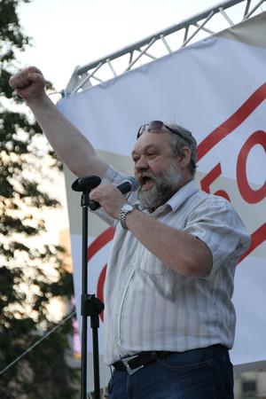 oppositional: Ilya Konstantinov the father of the political prisoner Daniil Konstantinov speaks at oppositional meeting