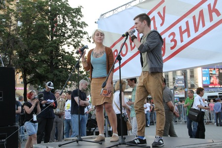 oppositional: Moscow, Russia - July 26, 2012. The poet Matvei Krylov on meeting in support of political prisoners The first meeting in protection of the prisoners arrested for protest events on Bolotnaya Square on May 6, 2012 in Moscow Editorial