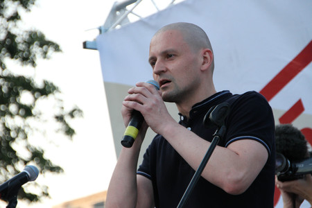 oppositional: Moscow, Russia - July 26, 2012. The politician Sergei Udaltsov on meeting in support of political prisoners. The first meeting in protection of the prisoners arrested for protest events on Bolotnaya Square on May 6, 2012 in Moscow