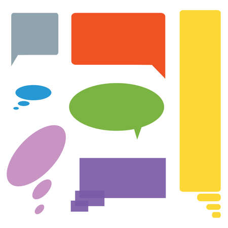 insertion: Comic cloud speech bubbles colored set of seven. blanks for text insertion