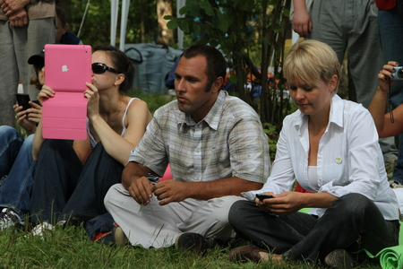Khimki, Moscow region, Russia - August 19, 2012. Ecologists Suren Gazaryan and Evgenia Chirikova at a meeting of activists in the Khimki forest. Representatives of different political forces gathered to propose the single candidate from opposition on elec Editorial