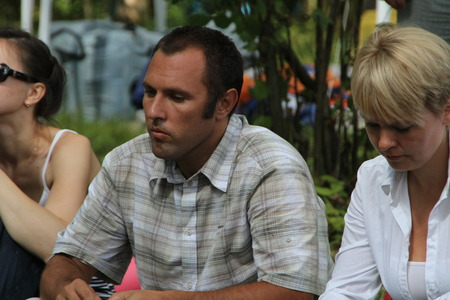 ecologists: Khimki, Moscow region, Russia - August 19, 2012. Ecologists Suren Gazaryan and Evgenia Chirikova at a meeting of activists in the Khimki forest. Representatives of different political forces gathered to propose the single candidate from opposition on elec Editorial