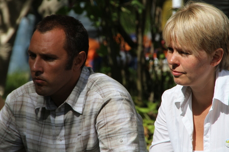 activists: Khimki, Moscow region, Russia - August 19, 2012. Ecologists Suren Gazaryan and Evgenia Chirikova at a meeting of activists in the Khimki forest. Representatives of different political forces gathered to propose the single candidate from opposition on elec Editorial