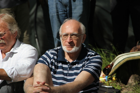 ecologists: Khimki, Moscow region, Russia - August 19, 2012. Ecologist lawyer Andrey Margulev at a meeting of activists in the Khimki forest. Representatives of different political forces gathered to propose the single candidate from opposition on elections in Khimki