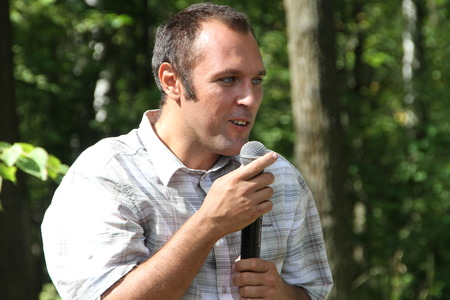 Khimki, Moscow region, Russia - August 19, 2012. Ecologist Suren Gazaryan, speaking at a meeting of activists in Khimki forest. Editorial