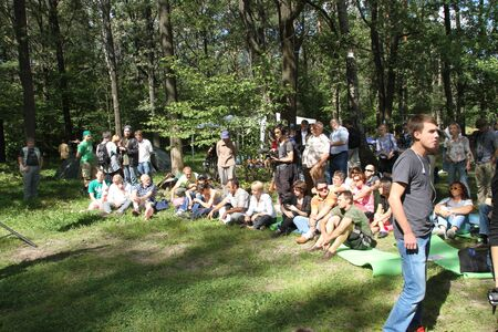 ecologists: Khimki, Moscow region, Russia - August 19, 2012. Civil society activists in Khimki forest. Representatives of different political forces gathered to propose the single candidate from opposition on elections in Khimki - to Evgenia Chirikova Editorial