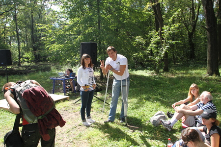 recent: Khimki, Moscow region, Russia - August 19, 2012. Deputy Dmitry Gudkov, despite recent injury, came to the meeting of activists in Khimki forest. Representatives of different political forces gathered to propose the single candidate from opposition on elec
