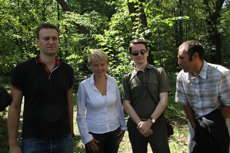 activists: Khimki, Moscow region, Russia - August 19, 2012. Policy Alexey Navalny, Evgenia Chirikova, Vladislav Naganov, Suren Gazaryan at the meeting of activists in Khimki forest. Representatives of different political forces gathered to propose the single candida