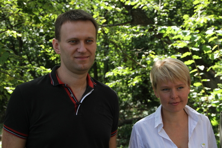 activists: Khimki, Moscow region, Russia - August 19, 2012. Policy Alexei Navalny and Evgeniya Chirikova at the meeting of activists in Khimki forest. Representatives of different political forces gathered to propose the single candidate from opposition on elections Editorial