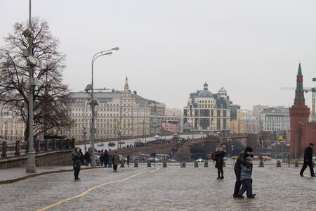 repression: Moscow, Russia - February 28, 2015. View of the site of the murder of politician Boris Nemtsov