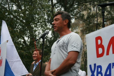 boris: Moscow, Russia - August 22, 2008. Opposition leader Boris Nemtsov speaks at a rally on the anniversary of the events of 1991 at the time of the coup in Moscow