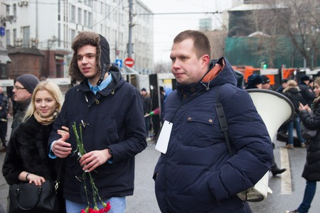 killings: Moscow, Russia - March 1, 2015. Politician Nikolay Lyaskin one of organizers of oppositional march of memory of Boris Nemtsov. March to the memory of Boris Nemtsov, Russian opposition leader who was assassinated on the eve of