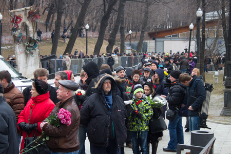 boris: Moscow, Russia - March 3, 2015. Turn to the farewell ceremony with politicians Boris Nemtsov. Farewell to the oppositionist Boris Nemtsov, who was killed near the Kremlin