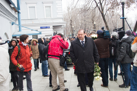 boris: Moscow, Russia - March 3, 2015. Politician Gennady Gudkov at the funeral of Boris Nemtsov. Farewell to the oppositionist Boris Nemtsov, who was killed near the Kremlin