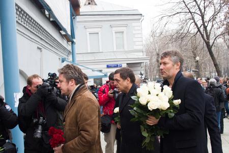 boris: Moscow, Russia - March 3, 2015. Journalist Alexander Lyubimov, and the mayor of Yekaterinburg Yevgeny Roizman at the funeral of Boris Nemtsov. Farewell to the oppositionist Boris Nemtsov, who was killed near the Kremlin