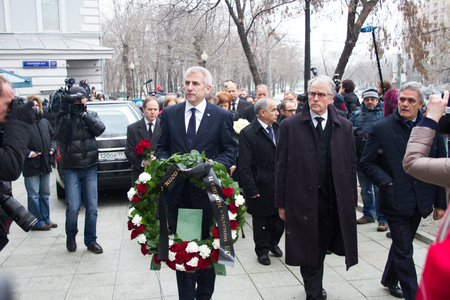 boris: Moscow, Russia - March 3, 2015. The ambassadors of the EU countries at the funeral of Boris Nemtsov. Farewell to the oppositionist Boris Nemtsov, who was killed near the Kremlin
