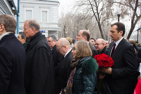 Moscow, Russia - March 3, 2015. The ambassadors of the EU countries at the funeral of Boris Nemtsov. Farewell to the oppositionist Boris Nemtsov, who was killed near the Kremlin