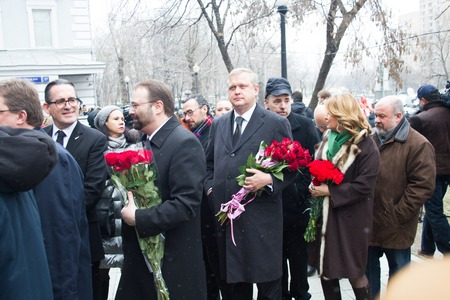 boris: Moscow, Russia - March 3, 2015. Minister of the government of Moscow Sergei Kapkov at the funeral of Boris Nemtsov. Farewell to the oppositionist Boris Nemtsov, who was killed near the Kremlin