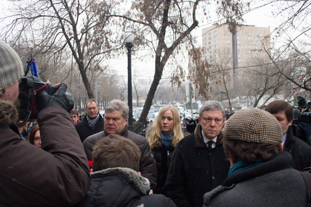 farewell party: Moscow, Russia - March 3, 2015. The leaders of the party Yabloko Sergei Mitrokhin and Grigory Yavlinsky at the funeral of Boris Nemtsov. Farewell to the oppositionist Boris Nemtsov, who was killed near the Kremlin