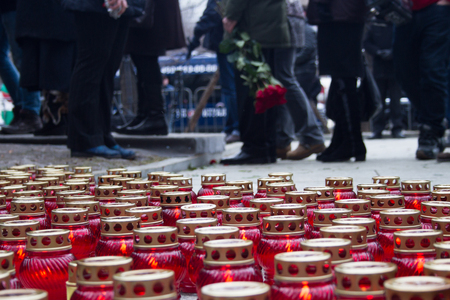 boris: Moscow, Russia - March 3, 2015. Mourning candles on the street near the funeral of Boris Nemtsov. Farewell to the oppositionist Boris Nemtsov, who was killed near the Kremlin