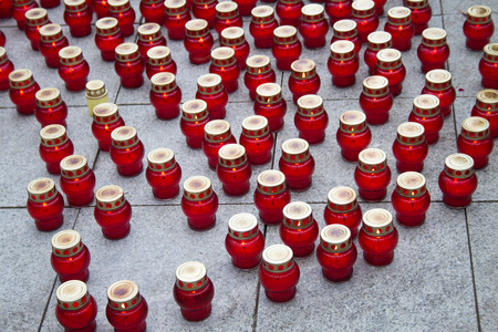 farewell party: Moscow, Russia - March 3, 2015. Mourning candles on the street near the funeral of Boris Nemtsov. Farewell to the oppositionist Boris Nemtsov, who was killed near the Kremlin
