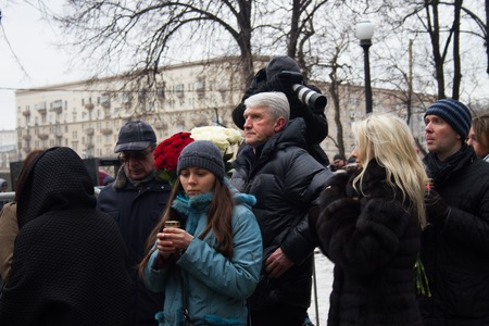 platon: Moscow, Russia - March 3, 2015. Platon Lebedev in the queue at the funeral of Boris Nemtsov. Farewell to the oppositionist Boris Nemtsov, who was killed near the Kremlin Editorial