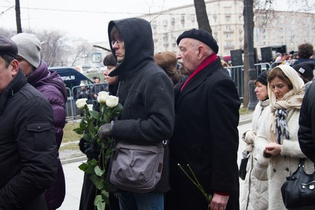 activist: Moscow, Russia - March 3, 2015. Human rights activist Valery Borschev at the funeral of Boris Nemtsov. Farewell to the oppositionist Boris Nemtsov, who was killed near the Kremlin