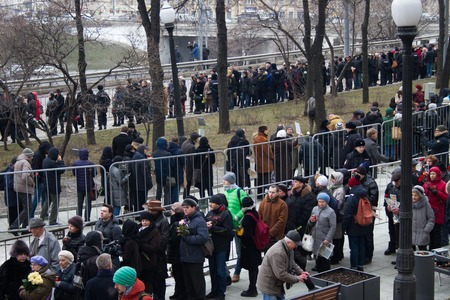 farewell party: Moscow, Russia - March 3, 2015. Turn to the farewell ceremony with politicians Boris Nemtsov. Farewell to the oppositionist Boris Nemtsov, who was killed near the Kremlin