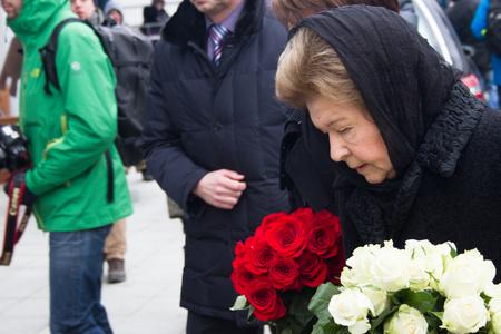 boris: Moscow, Russia - March 3, 2015. Naina Yeltsina, the widow of President Boris Yeltsin, at the funeral of Boris Nemtsov. Farewell to the oppositionist Boris Nemtsov, who was killed near the Kremlin Editorial