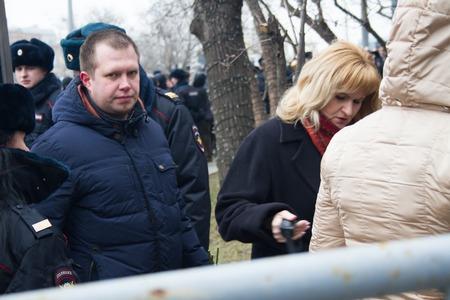 boris: Moscow, Russia - March 3, 2015. Opposition politician Nikolai Lyaskin at the funeral of Boris Nemtsov. Farewell to the oppositionist Boris Nemtsov, who was killed near the Kremlin Editorial