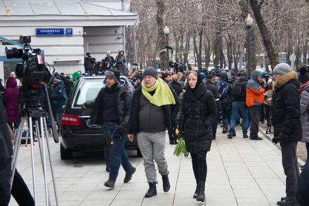 boris: Moscow, Russia - March 3, 2015. Writer Viktor Erofeev at the funeral of Boris Nemtsov. Farewell to the oppositionist Boris Nemtsov, who was killed near the Kremlin