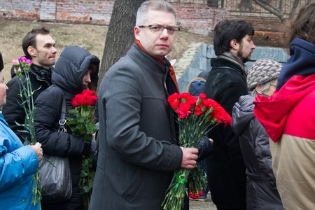boris: Moscow, Russia - March 3, 2015. Farewell to the oppositionist Boris Nemtsov, who was killed near the Kremlin Editorial