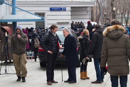 farewell party: Moscow, Russia - March 3, 2015. The lawyer Genrikh Padva at the funeral of Boris Nemtsov. Farewell to the oppositionist Boris Nemtsov, who was killed near the Kremlin Editorial