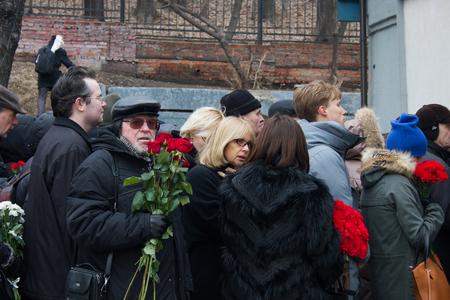 boris: Moscow, Russia - March 3, 2015. Actress Vera Glagoleva at the funeral of Boris Nemtsov. Farewell to the oppositionist Boris Nemtsov, who was killed near the Kremlin