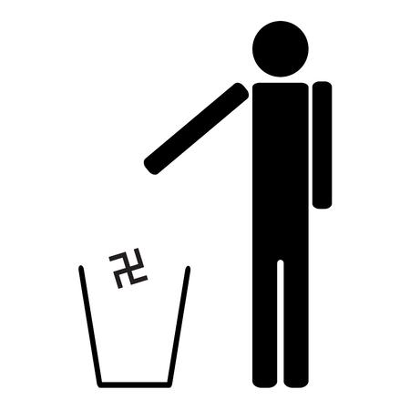 fascism: man throws in the trash Nazi swastika Illustration