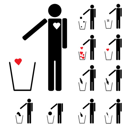 drug addict: set of eleven figures throwing in the trash heart alcohol drugs