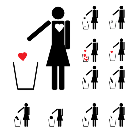 set of eleven woman figures throwing in the trash heart alcohol Vector