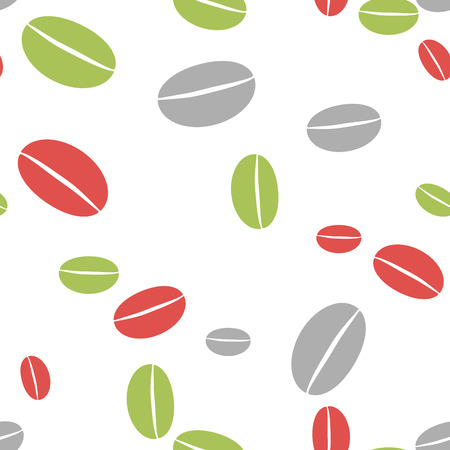 vigor: Colored coffee bean abstract seamless background. Green, gray and red grains of different size
