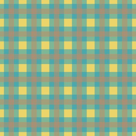 packaging industry: Abstract seamless textile pattern. Yellow brown green square