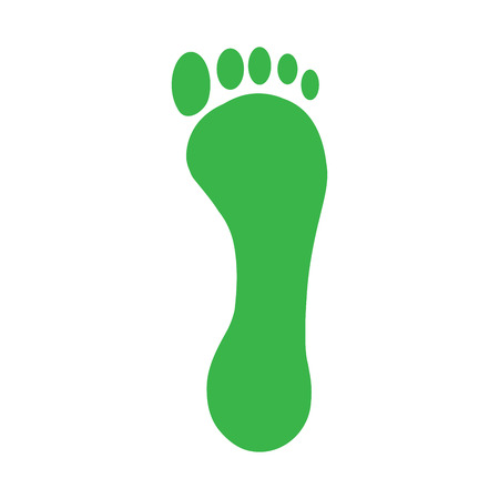 green footprint: Green footprint of a human foot and toes. Silhouette symbol icon Illustration
