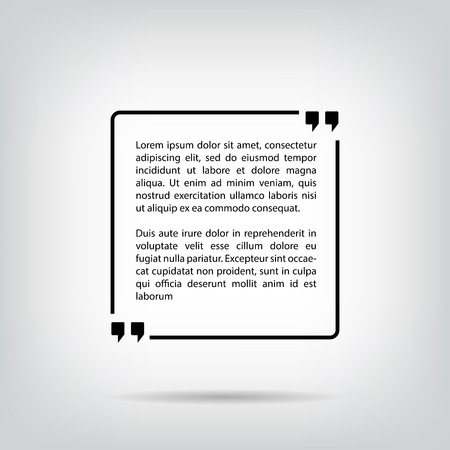 Text quote bubble in a square white background with shadows. Form for texts and sayings