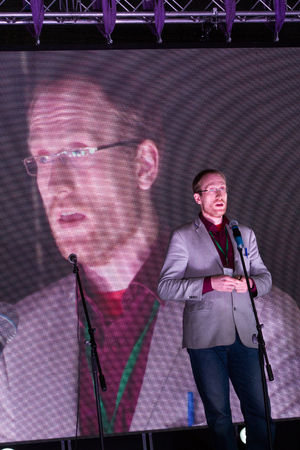creador: Moscow, Russia - September 20, 2015. Physicist Andrei Zayakin, creator of the project dissernet.org speaking at the opposition rally. A Russian opposition rally for democracy. Moscow city area Marino