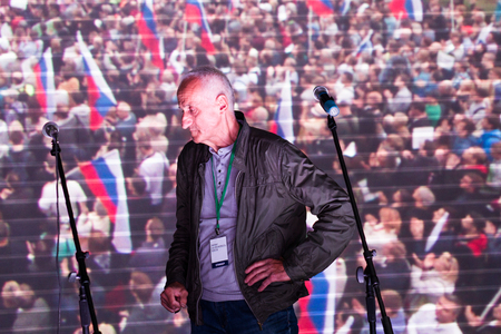 opposition: Moscow, Russia - September 20, 2015. Opposition activist Vladimir Ionov. A Russian opposition rally for democracy. Moscow city area Marino
