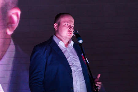 opposition: Moscow, Russia - September 20, 2015. Politician Georgi Alburov speaking at the opposition rally. A Russian opposition rally for democracy. Moscow city area Marino Editorial