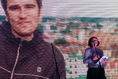 political prisoner: Moscow, Russia - September 20, 2015. Anna Gaskarov the wife of political prisoner Alexei Gaskarov speaking at the opposition rally. A Russian opposition rally for democracy. Moscow city area Marino