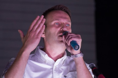opposition: Moscow, Russia - September 20, 2015. Politician Alexei Navalny speaking at the opposition rally. A Russian opposition rally for democracy. Moscow city area Marino