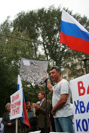 opposition: Moscow, Russia - August 22, 2008. Politician Boris Nemtsov at the rally of Russian democratic opposition on the anniversary of the victory over the state emergency Committee. Democratic opposition will hold a rally near the White house government, which t