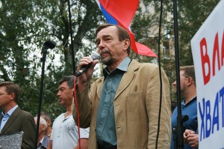 activist: Moscow, Russia - August 22, 2008. Human Rights Activist Lev Ponomarev at the rally of Russian democratic opposition on the anniversary of the victory over the state emergency Committee. Democratic opposition will hold a rally near the White house governme