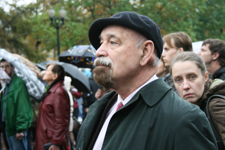 human right: Moscow, Russia - October 7, 2008. Human rights activist Valery Borshchev at the rally in memory of Anna Politkovskaya. The rally on the anniversary of the murder of Russian journalist Anna Politkovskaya. On Pushkin square in Moscow opposition, human right